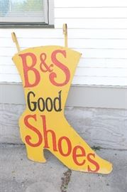 5' high two sided-hand painted shoe sign on wood