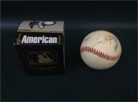 Baseball Signed by Johnny Mize, Bob Feller, and Enos
