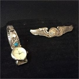 Sterling WWII Pilot Wings Pin More