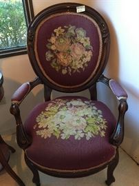 S. Karpen & Bros. Wooden Oval Embroidered Chair