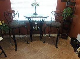 Bistro height table and (2) chairs with wine rack base