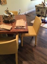 Modern burlwood table with 4 leather chairs