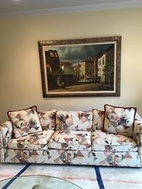 Post Modern sofa, European town scene painting