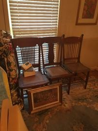 Beautiful wood chairs with lots of character, Framed print