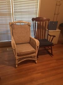 Wood rocking chair, Wicker rocking chair with cushions