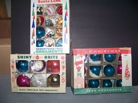 Vintage Glass Christmas Tree Ornaments - Santa Land and Others - $65  (lot view)