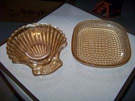 Vintage Carnival Glass Marigold Candy Dishes, set of 2 - $25