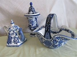 Blue and white Bombay ware