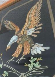Vintage Framed Eagle Tapestry