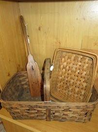 Primitive Tobacco Basket, Heart Pattern Wooden  Rug Paddle