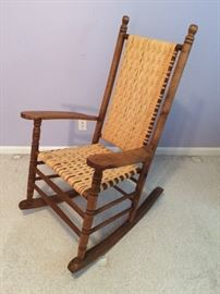 vintage rocker with hand-caned seat and back
