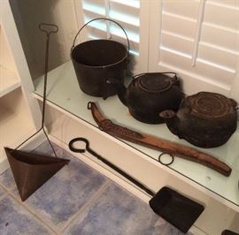 cast iron caldron and pots, fireplace coal scuttles, and farming gear