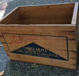 vintage Libby's canned meat wood shipping crate