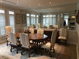 INTERIOR CRAFTS DINING ROOM SET WITH CHAIRS AND BUFFET.  THE RUG, PICTURES AND CENTERPIECE ARE NOT FOR SALE