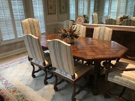 INTERIOR CRAFT TABLE AND CHAIRS-RUG, CENTERPIECE AND PICTURES NOT FOR SALE