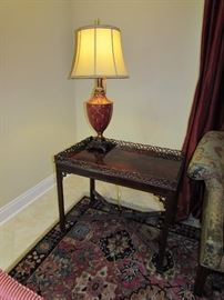Chinese Chippendale rectangle Mahogany table.  Lovely burgundy decor lamp