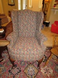 Ethan Allen wing back spoon foot chair