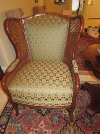 Ethan Allen cane side wing back chair in excellent condition