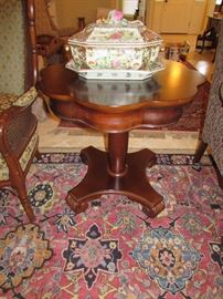Empire style Mahogany pedestal table.  Lovely condition.  Soup tureen and matching underplate