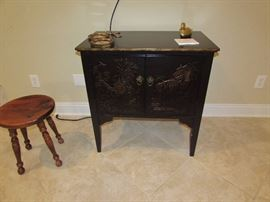 Ethan Allen ebony stained record cabinet,  Ethan Allen Pine indented milking style four leg stool