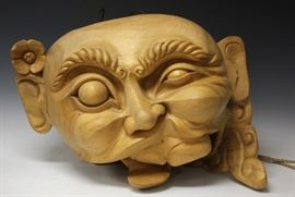 """JAPANESE CARVING OF BUDDHA HEAD, 30"""" L"""