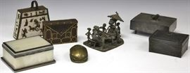 LOT OF (7): BRUNI BRONZ, PEWTER BOXES, ETC.