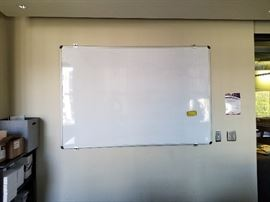 Large wall mounted dry erase white board