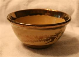 Vintage bowl with metallic glaze