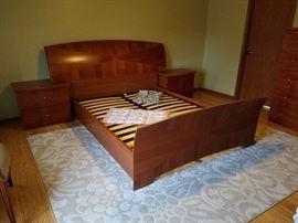 nice danish modern queen bedroom set.....headboard and matching nightstands
