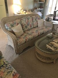 Wicker Living Room Set, matching coffee/end tables