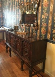 Antique dining room with sideboard, table & chairs & cabinet