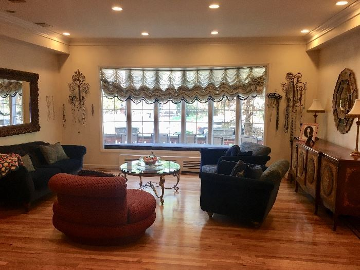 Living room sofas & ocassional chairs, curtains & coffee table
