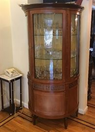 Vintage inlaid glass front vitrine & collectibles