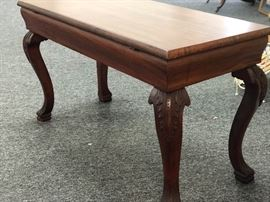 Antique solid wood piano bench with claw feet