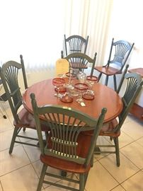 """Solid Maple 40"""" Table and 4 Chairs plus two 10"""" leaves"""