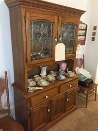 Oak Hutch with brass accents and porcelain knobs