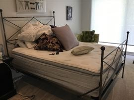 Queen Iron campaign bed purchased in Portico SoHo  NY. $975.  Mattress and box spring included