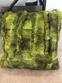 BARNEYS dyed green fur pillow $195