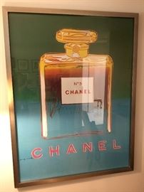 Andy Warhol CHANEL NO 5  5x4ft. Framed poster $8500 serigraph