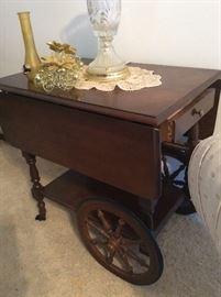 Vintage Double Drop Leaf Tea Bar Liquor trolley Cart Table Cart