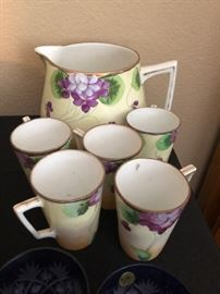 Antique Hand Painted Pitcher & Cups