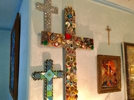Mosaic & jewelry cross art