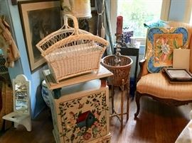 Wicker, antiques, candles, linens