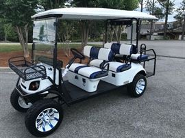 Our New golf cart to help get you to and from our sales effortlessly!
