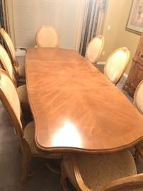 Bernhardt Dining Table with 2 Arm Chairs, 6 Side Chairs, and leaf insert.