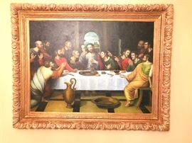 Last Supper Canvas Painting by C. Kramer with Custom Gold Frame. Approximately 59 inches Wide, Length 46 inches, 3 3/4 inches Deep