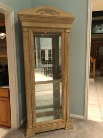 Pulaski Curio. White Birch Finish. 4 glass shelves, mirrored back, lighted interior, and 4 side entry doors. Solid wood. W36 D 17 H84