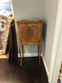 wonderful marble top antique writing desk - also a sweet little bar