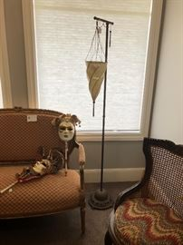 wonderful hanging lamp  and venetian masks