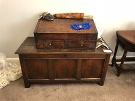 Very unusual antique wooden trunk with a writing desk on the top - use as shown or place the writing desk pieces atop something else